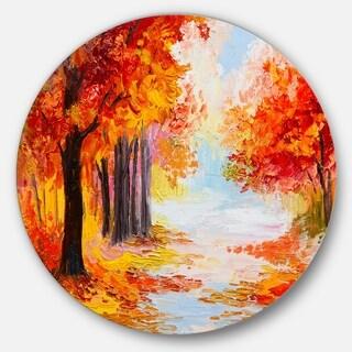 Designart 'Orange Forest in Autumn' Landscape Glossy Metal Wall Art