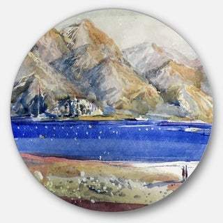 Designart 'Mountains and Blue Sea' Landscape Glossy Large Disk Metal Wall Art