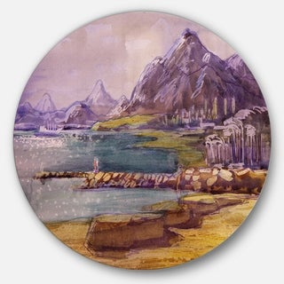 Designart 'Purple Hills' Landscape Glossy Large Disk Metal Wall Art