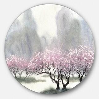 Designart 'Flowering Trees at Spring' Landscape Glossy Large Disk Metal Wall Art