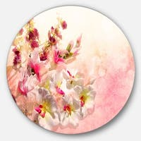 Designart 'Pink Bouquet of Flowers' Floral Glossy Large Disk Metal Wall Art