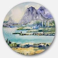Designart 'Watercolor Blue Hills' Landscape Glossy Large Disk Metal Wall Art