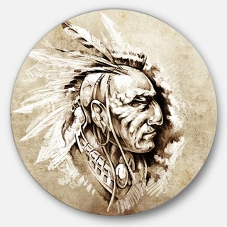 Designart 'American Indian Illustration' Portrait Glossy Large Disk Metal Wall Art