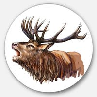 Designart 'Deer Head Illustration Art' Animal Glossy Metal Wall Art