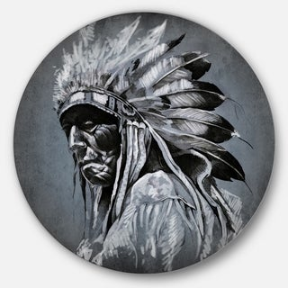 Designart 'American Indian Tattoo Art' Portrait Glossy Large Disk Metal Wall Art