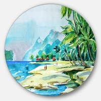 Designart 'View from Shore' Landscape Glossy Large Disk Metal Wall Art