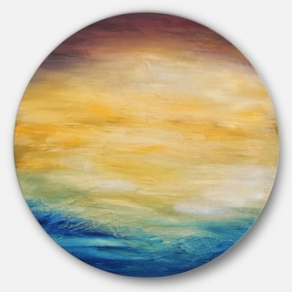 Designart 'Abstract Water Sunset' Abstract Glossy Large Disk Metal Wall Art
