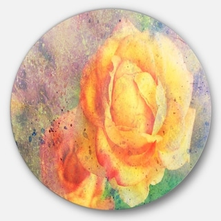 Designart 'Yellow Rose Watercolor' Floral Glossy Large Disk Metal Wall Art
