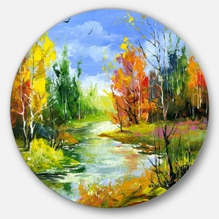 Designart 'Fusion of Autumn Shades' Landscape Glossy Large Disk Metal Wall Art