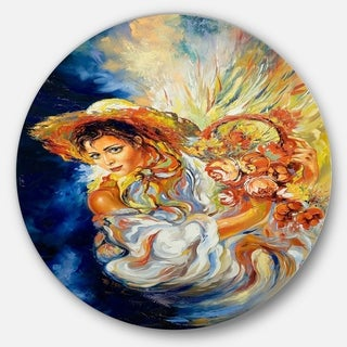 Designart 'Girl with Flowers' Floral Glossy Large Disk Metal Wall Art