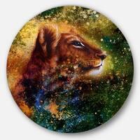 Designart 'Thoughtful Lion Cub' Animal Glossy Large Disk Metal Wall Art