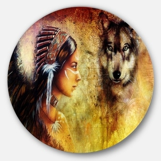 Designart 'Woman with Wolf' Portrait Glossy Large Disk Metal Wall Art