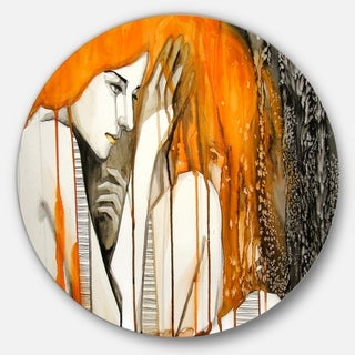 Designart 'Thoughtful Girl Illustration' Portrait Glossy Large Disk Metal Wall Art