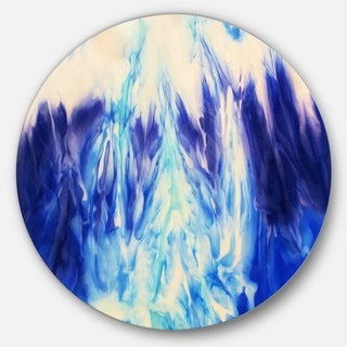 Designart 'Blue Life' Abstract Glossy Large Disk Metal Wall Art