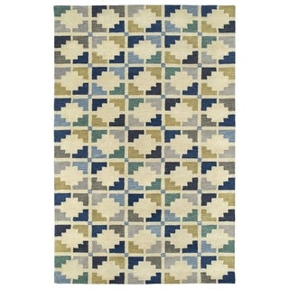 Hand-Tufted Lola Mosaic Blue Motif Wool Rug (8'0 x 11'0)