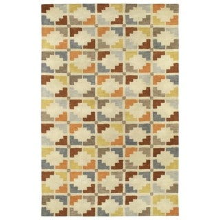 Hand-Tufted Lola Mosaic Sand Motif Wool Rug (8'0 x 11'0)