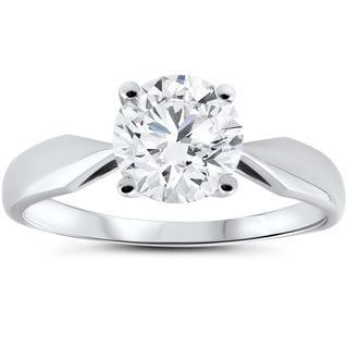14k White Gold 1 1/2 ct TDW Diamond Clarity Enhanced Engagement Ring Solitaire 14K White Gold