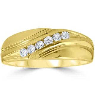 14K Yellow Gold 1/4 ct TDW Mens Diamond Wedding Ring
