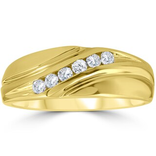 14K Yellow Gold 1/4 ct TDW Mens Diamond Wedding Ring