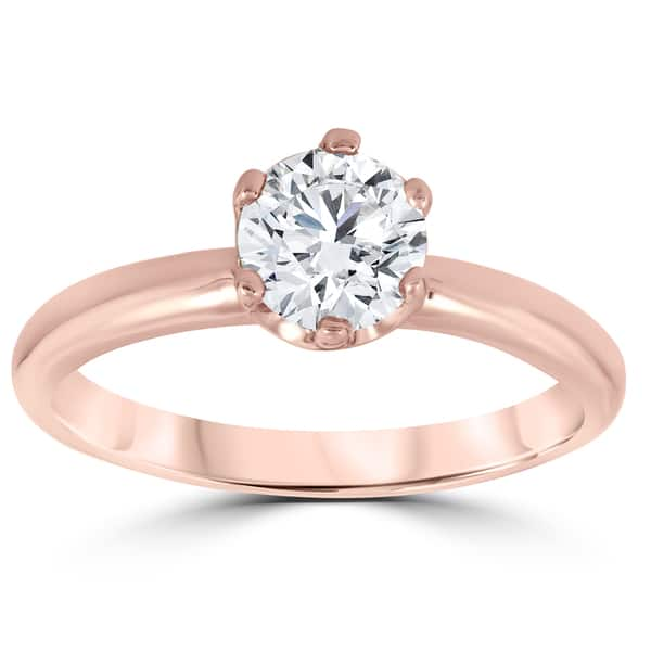 Shop 14k Rose Gold 1 Ct Tdw Solitaire Round Diamond Clarity Enhanced 6 Prong Engagement Ring On Sale Overstock 14185190