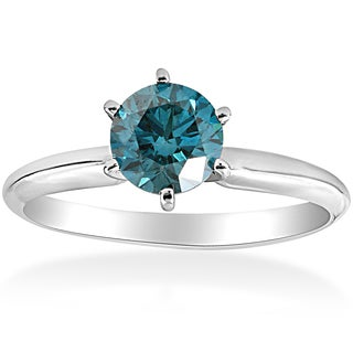 14k White Gold 1 ct TDW Blue Diamond Engagement Ring Solitaire 14K White Gold (Blue)