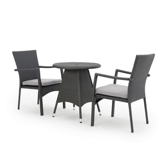 Georgina Outdoor 3-piece Dining Bistro Set with Cushions by Christopher Knight Home