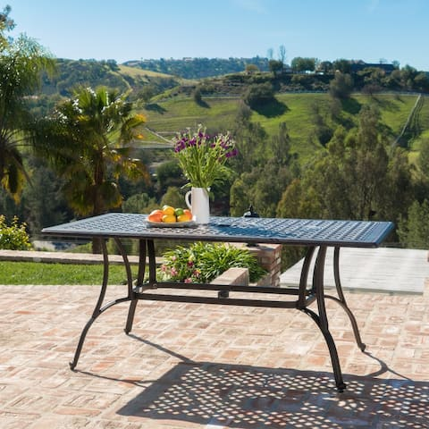 Alfresco Cast Aluminum Patio Dining Table by Christopher Knight Home
