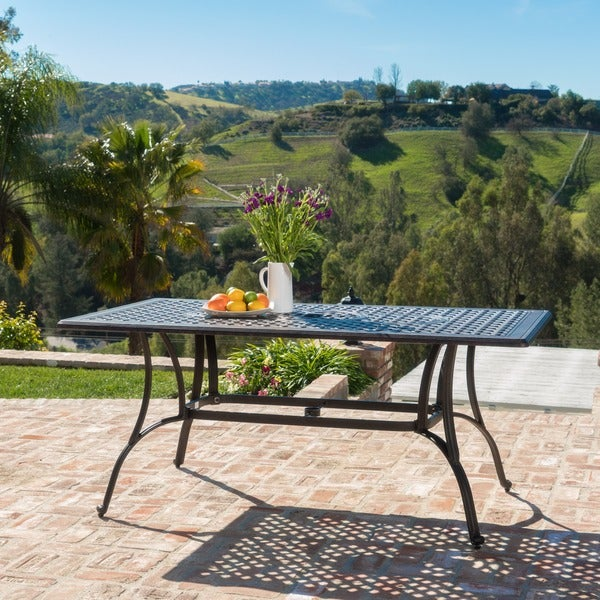 Alfresco Outdoor Cast Aluminum Rectangle Dining Table (ONLY) By Christopher  Knight Home