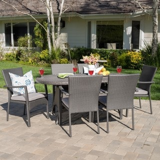 McNeil Outdoor 7-piece Oval Wicker Dining Set with Cushions by Christopher Knight Home
