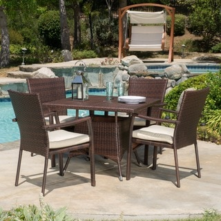 Link to Campbell Outdoor 5-piece Square Wicker Dining Set with Cushions by Christopher Knight Home Similar Items in Outdoor Dining Sets