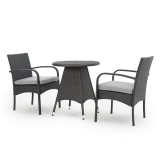 Peterson Outdoor 3-piece Dining Bistro Set with Cushions by Christopher Knight Home