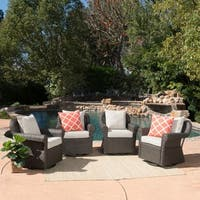 Amaya Outdoor Wicker Swivel Rocking Chair with Cushion (Set of 4) by Christopher Knight Home