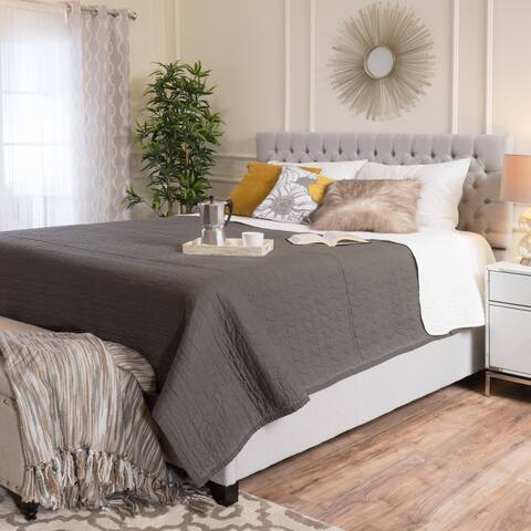 Kaelyn Upholstered Tufted Fabric Queen Bed Set by Christopher Knight Home