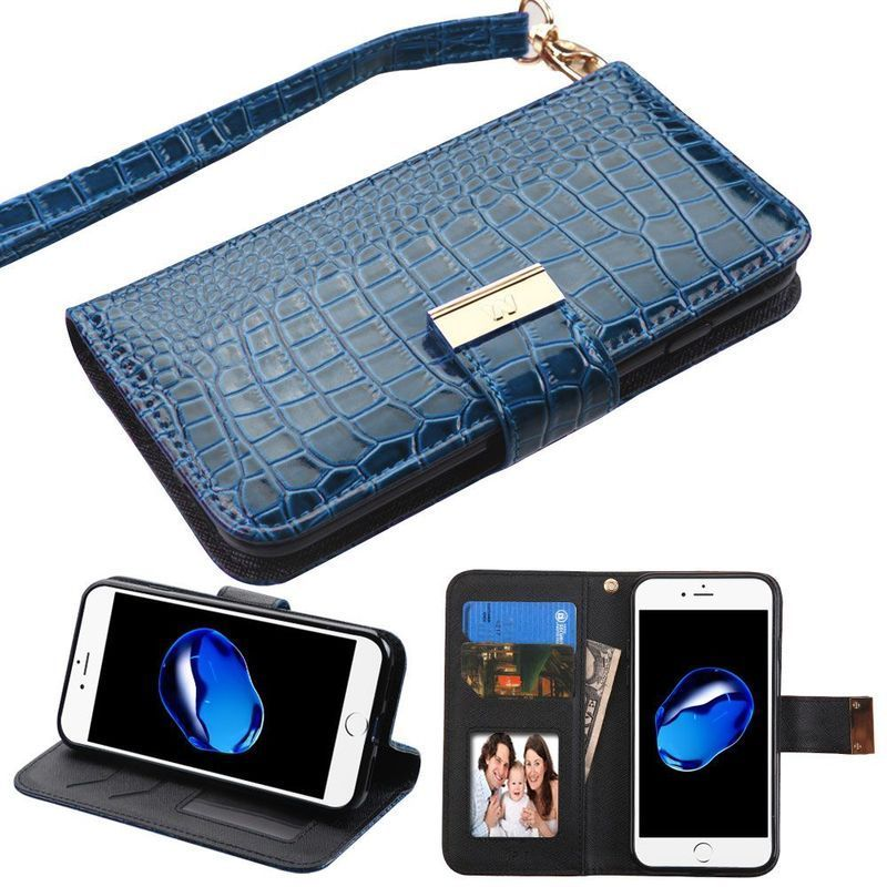 Insten Blue Leather Case Cover Lanyard with Stand/ Wallet...