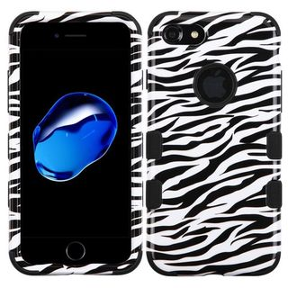 Insten Black/ White Zebra Tuff Hard PC/ Silicone Dual Layer Hybrid Rubberized Matte Case Cover For Apple iPhone 7