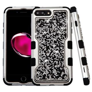 Insten Silver/ Black Hard PC/ Silicone Dual Layer Hybrid Diamond Bling Case Cover For Apple iPhone 7 Plus