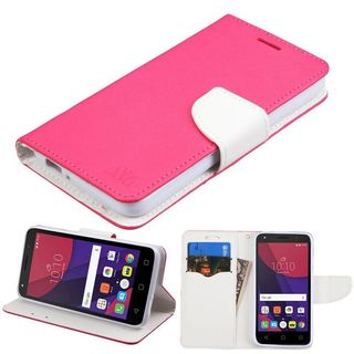 Insten Hot Pink/ White Leather Case Cover with Stand/ Wallet Flap Pouch For Alcatel Pixi 4(5)