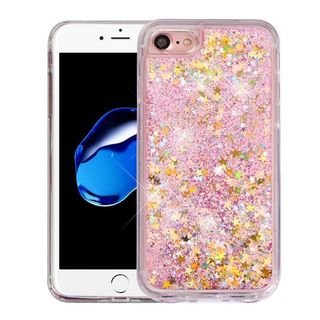 Insten Clear/ Pink Stars Quicksand Hard Snap-on Glitter Case Cover For Apple iPhone 7