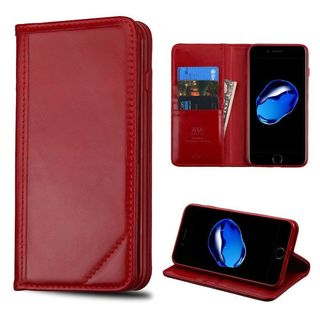 Insten Red Leather Case Cover with Stand/ Wallet Flap Pouch For Apple iPhone 7