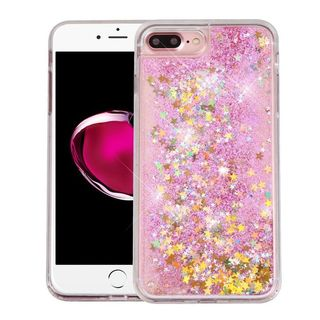 Insten Clear/ Pink Stars Quicksand Hard Snap-on Glitter Case Cover For Apple iPhone 7 Plus