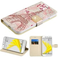 Insten Pink Eiffel Tower Leather Case Cover with Stand/ Wallet Flap Pouch/ Diamond For HTC Bolt