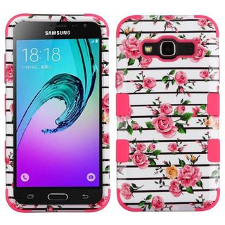 Insten Pink/ White Fresh Roses Hard PC Dual Layer Hybrid Case Cover For Samsung Galaxy Amp Prime/ Express Prime / Sky/ Sol