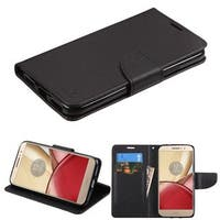 Insten Black Leather Case Cover with Stand/ Wallet Flap Pouch For Motorola Moto M
