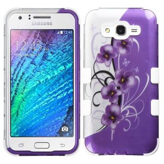Insten Purple/ White Twilight Petunias Tuff Hard PC/ Silicone Dual Layer Hybrid Case Cover For Samsung Galaxy J7(2015)