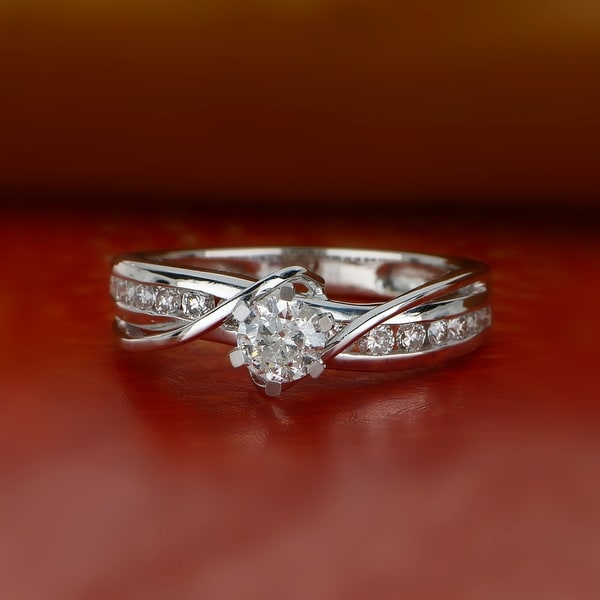 De Couer 14k White Gold 3/4 ct TDW Diamond Engagement Ring