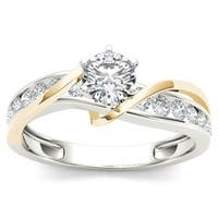 De Couer 14k Yellow Two Tone White Gold 3/4 ct TDW Diamond Engagement Ring