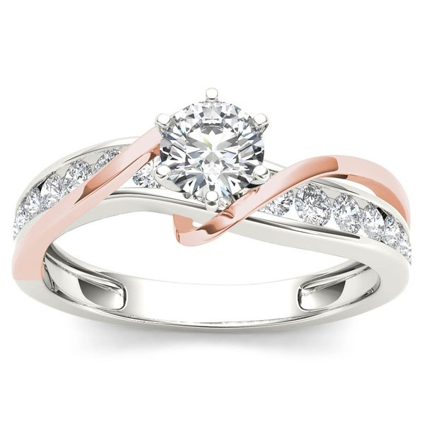 De Couer 14k Rose Two Tone White Gold 3/4 ct TDW Diamond Engagement Ring. Opens flyout.