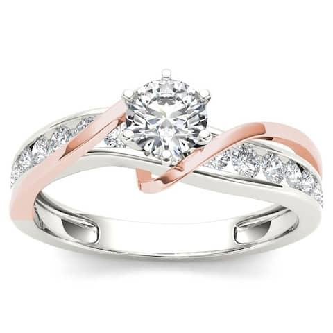De Couer 14k Rose Two Tone White Gold 3/4 ct TDW Diamond Engagement Ring