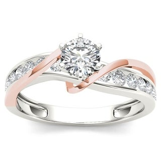De Couer 14k Rose Two Tone White Gold 3/4 ct TDW Diamond Engagement Ring - Pink