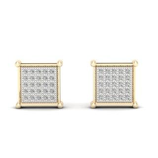 1/6ct TDW Diamond Cluster Stud Earrings in 10K Yellow Gold